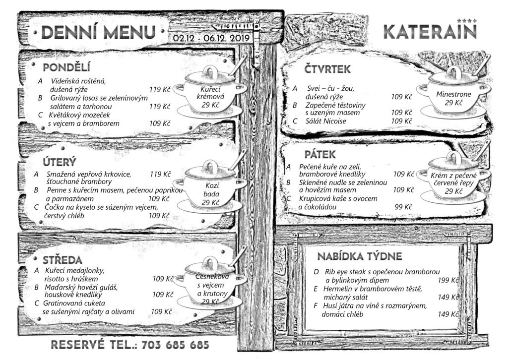 Week menu 02.12. - 06.12.2019