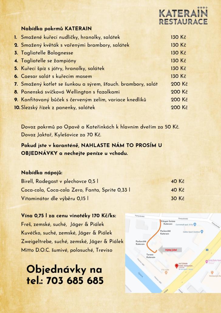 Katerain - jídelní menu 14.-24.3.2020