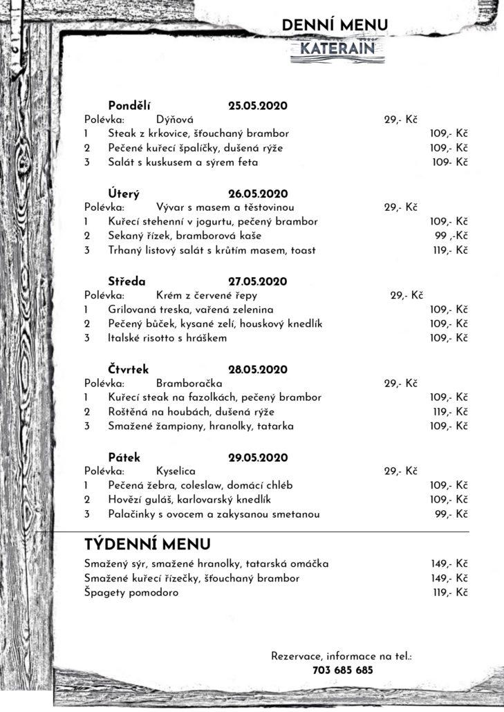 Weekly menu 25.05. – 29.05.2020